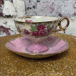 Vintage teacup & saucer floral Japan